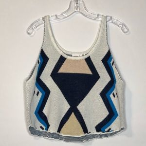 Somedays Lovin Womens Tank Sweater Chevron S NEW
